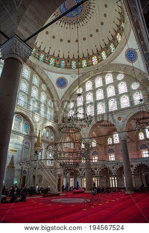 ISTANBUL TURKEY - APRIL 30 2017: Interior of Mihrimah Sultan Mosque in the area Edirnekapi Istanbul's historic center