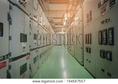 Electrical substation room in power plant or petrochemical industry, Electrical switchgear