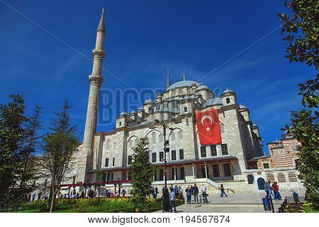 ISTANBUL TURKEY - APRIL 30 2017: The Fatih Mosque Conqueror's Mosque in Istanbul Turkey