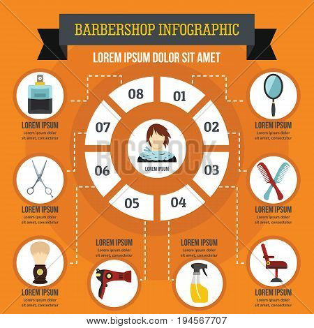 Barbershop infographic banner concept. Flat illustration of barbershop infographic vector poster concept for web