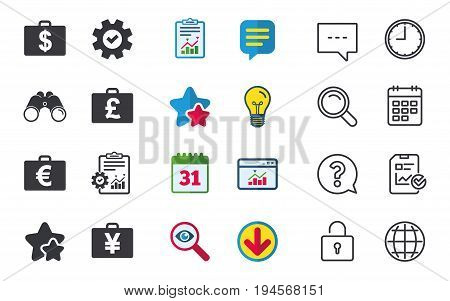 Businessman case icons. Cash money diplomat signs. Dollar, euro and pound symbols. Chat, Report and Calendar signs. Stars, Statistics and Download icons. Question, Clock and Globe. Vector