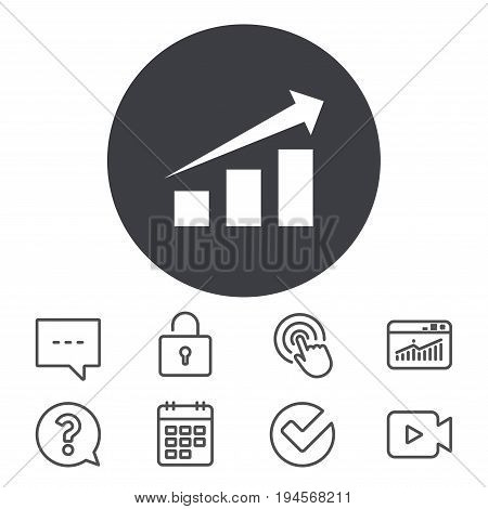 Chart with arrow sign icon. Success diagram symbol. Statistics. Calendar, Locker and Speech bubble line signs. Video camera, Statistics and Question icons. Vector