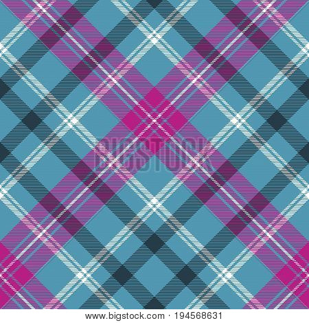 Blue pink check plaid seamless pattern. Vector illustration.
