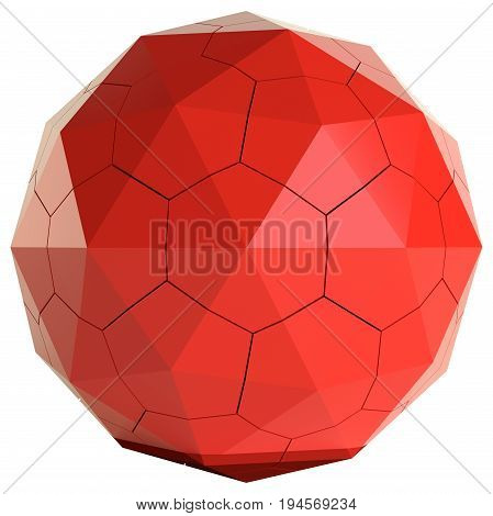 Red cracked sphere on a white background. 3D Illustration