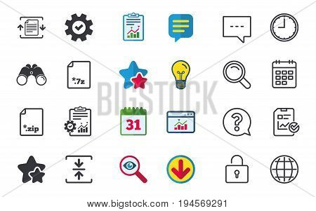 Archive file icons. Compressed zipped document signs. Data compression symbols. Chat, Report and Calendar signs. Stars, Statistics and Download icons. Question, Clock and Globe. Vector