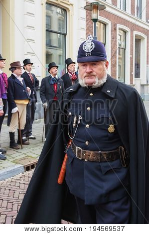 Deventer, Netherlands - December 18, 2016: One of the characters from the famous books of Dickens during the Dickens Festival in Deventer in The Netherlands
