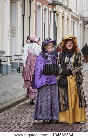 Deventer Netherlands - December 18, 2016: One of the characters from the famous books of Dickens during the Dickens Festival in Deventer in The Netherlands