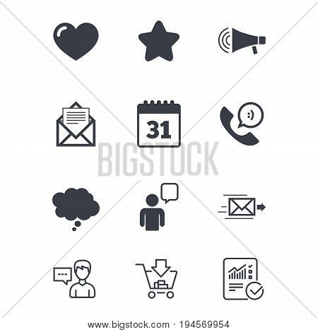 Mail, contact icons. Favorite, like and calendar signs. E-mail, chat message and phone call symbols. Customer service, Shopping cart and Report line signs. Online shopping and Statistics. Vector