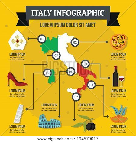 Italy infographic banner concept. Flat illustration of Italy infographic vector poster concept for web