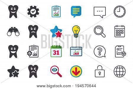 Tooth happy, sad and crying faces icons. Dental care signs. Healthy or unhealthy teeth symbols. Chat, Report and Calendar signs. Stars, Statistics and Download icons. Question, Clock and Globe. Vector