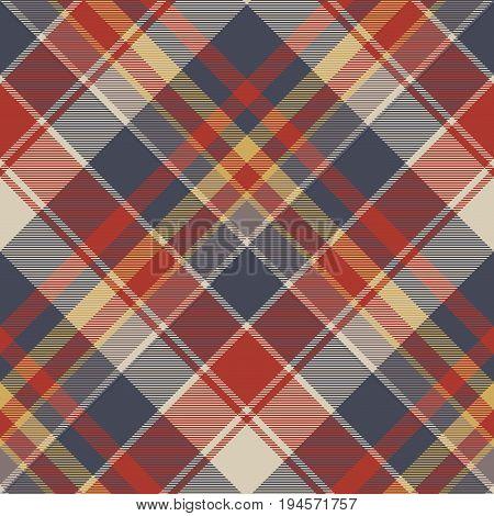 Red blue tartan fabric texture seamless pattern. Vector illustration.