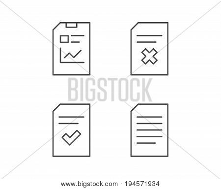 Document, Report and Checklist line icons. Document Management, Delete and Statistics signs. Quality design elements. Editable stroke. Vector