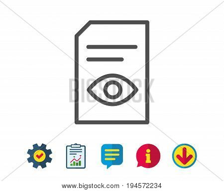 View Document line icon. Open Information File sign. Paper page with Eye concept symbol. Report, Service and Information line signs. Download, Speech bubble icons. Editable stroke. Vector