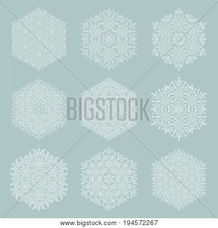 Set of vector white snowflakes. Fine winter ornaments. Snowflakes collection. Snowflakes for backgrounds and designs