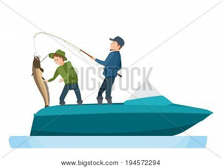 Young fishermen take a big fish, caught on a spinning, putting catfish in a boat. Vector illustration isolated in cartoon style.