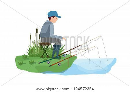Fisherman's set on fishing in different situations. Young fisherman, with a few fishing rods, fishing, sitting on a stool, on the shore of a lake. Vector illustration isolated in cartoon style.