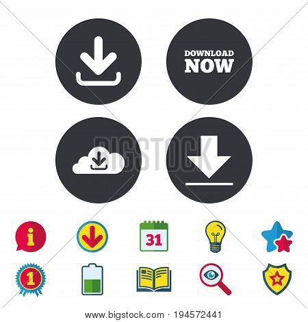 Download now icon. Upload from cloud symbols. Receive data from a remote storage signs. Calendar, Information and Download signs. Stars, Award and Book icons. Light bulb, Shield and Search. Vector