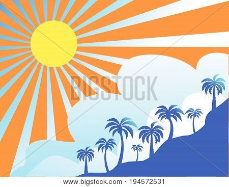 Summer color background with palm trees vector