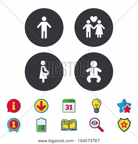 Family lifetime icons. Couple love, pregnancy and birth of a child symbols. Human male person sign. Calendar, Information and Download signs. Stars, Award and Book icons. Light bulb, Shield and Search