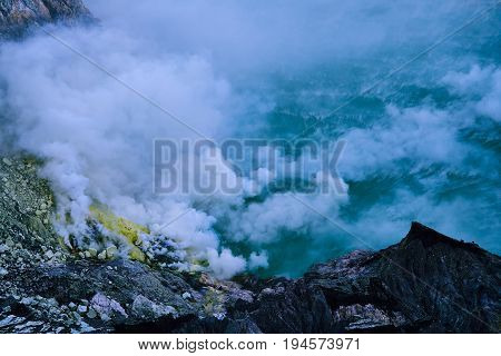 Close Up Of Sulfur Fumes From The Crater Of Kawah Ijen Volcano Indonesia