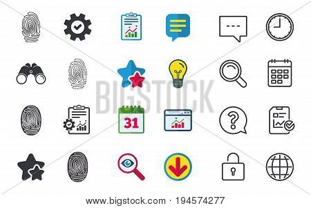 Fingerprint icons. Identification or authentication symbols. Biometric human dabs signs. Chat, Report and Calendar signs. Stars, Statistics and Download icons. Question, Clock and Globe. Vector