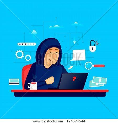 Hacker. Character. Internet. Flat design vector illustration.