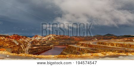 wide angle view of copper mine open pit in Rio Tinto, cloudy day, Spain
