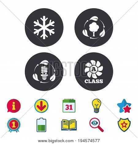 Fresh air icon. Forest tree with leaves sign. Fluorescent energy lamp bulb symbol. A-class ventilation. Air conditioning symbol. Calendar, Information and Download signs. Stars, Award and Book icons
