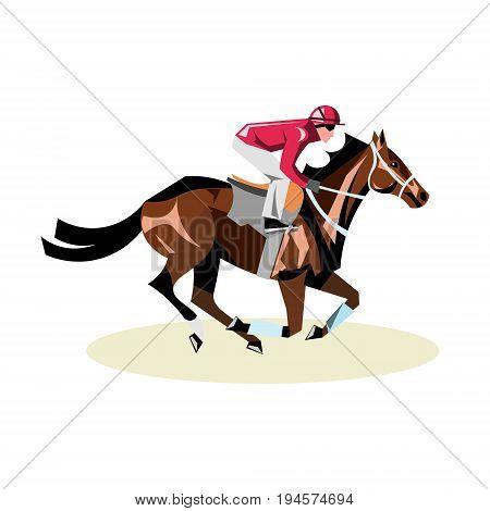 Jockey on horse. Horse racing. Horse riding. Vector illustration