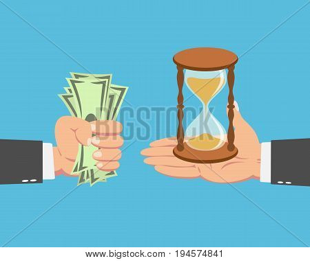 Hand of businessman with money buying a Hourglass isolated on blue background