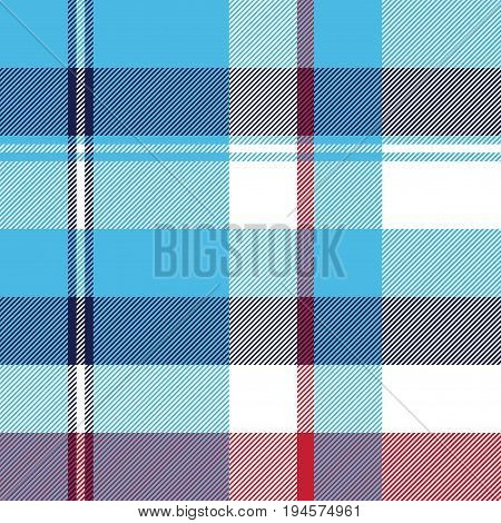 Turquoise seamless pattern check plaid fabric texture madras. Vector illustration.