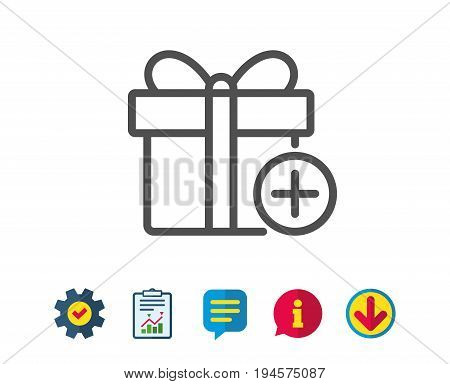Add Gift box line icon. Present or Sale sign. Birthday Shopping symbol. Package in Gift Wrap. Report, Service and Information line signs. Download, Speech bubble icons. Editable stroke. Vector