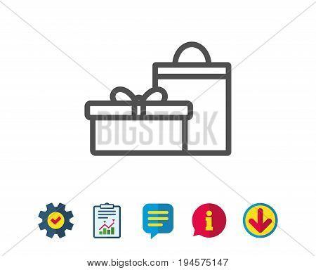 Gift box with bag line icon. Present or Sale sign. Birthday Shopping symbol. Package in Gift Wrap. Report, Service and Information line signs. Download, Speech bubble icons. Editable stroke. Vector