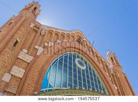 Facade Of The Mercado Colon Market Hall In Valencia