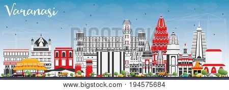 Varanasi Skyline with Color Buildings and Blue Sky. Business Travel and Tourism Concept with Historic Architecture. Image for Presentation Banner Placard and Web Site.