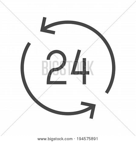 Open 24 Hours a Day Thin Line Vector Icon. Flat icon isolated on the white background. Editable EPS file. Vector illustration.