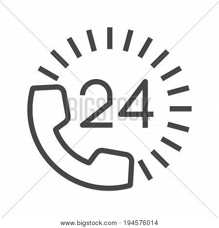 Round the Clock Support Thin Line Vector Icon. Flat icon isolated on the white background. Editable EPS file. Vector illustration.