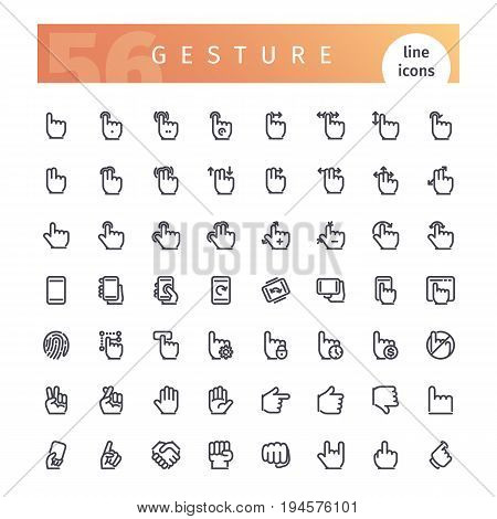 Set of 56 touch screen hand gestures line icons suitable for ui, web, mobile application and touch devices. Isolated on white background. Clipping paths included.