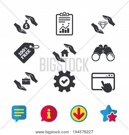 Hands insurance icons. Money bag savings insurance symbols. Jewelry diamond symbol. House property insurance sign. Browser window, Report and Service signs. Binoculars, Information and Download icons