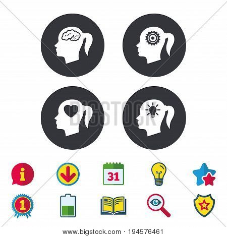Head with brain and idea lamp bulb icons. Female woman think symbols. Cogwheel gears signs. Love heart. Calendar, Information and Download signs. Stars, Award and Book icons. Vector