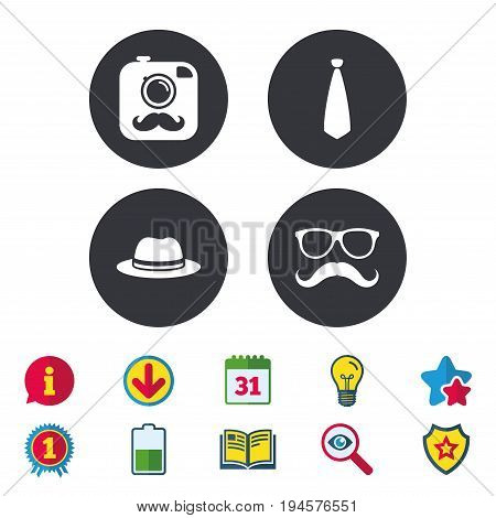 Hipster photo camera with mustache icon. Glasses and tie symbols. Classic hat headdress sign. Calendar, Information and Download signs. Stars, Award and Book icons. Light bulb, Shield and Search
