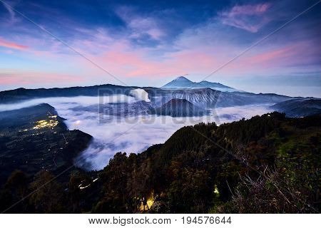 Wonderful Dawn Of Landscape View Sky And Mount At Bromo, East Java, Indonesia