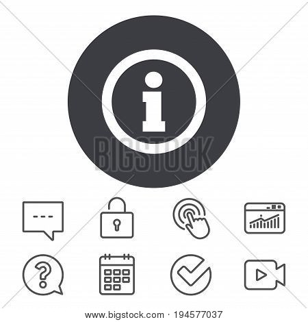 Information sign icon. Info symbol. Calendar, Locker and Speech bubble line signs. Video camera, Statistics and Question icons. Vector