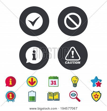 Information icons. Stop prohibition and attention caution signs. Approved check mark symbol. Calendar, Information and Download signs. Stars, Award and Book icons. Light bulb, Shield and Search