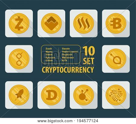 set icon flat of ten different cryptocurrency