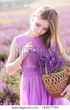Beautiful blonde girl 14-16 year old holding basket with lavender flowers in field. Pretty girl posing outdoors. Summer time.