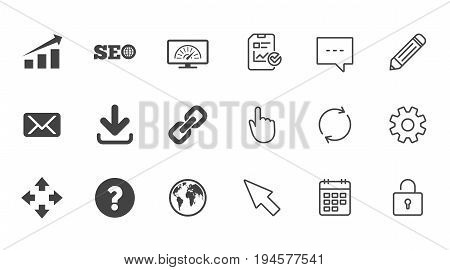 Internet, seo icons. Bandwidth speed, download arrow and mail signs. Hyperlink, monitoring symbols. Chat, Report and Calendar line signs. Service, Pencil and Locker icons. Click, Rotation and Cursor