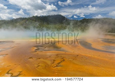 Detailed photo of Grand Prismatic Spring. Yellowstone National Park, Wyoming, USA