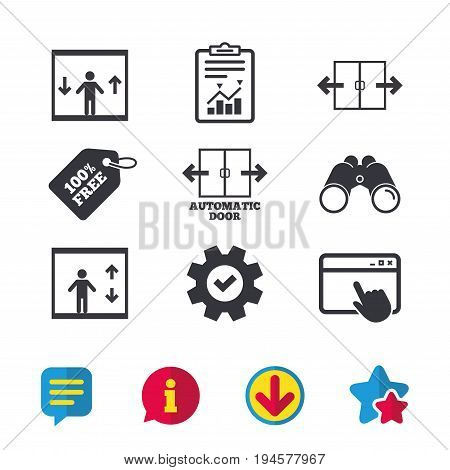 Automatic door icons. Elevator symbols. Auto open. Person symbol with up and down arrows. Browser window, Report and Service signs. Binoculars, Information and Download icons. Stars and Chat. Vector