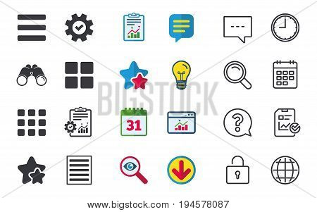 List menu icons. Content view options symbols. Thumbnails grid or Gallery view. Chat, Report and Calendar signs. Stars, Statistics and Download icons. Question, Clock and Globe. Vector